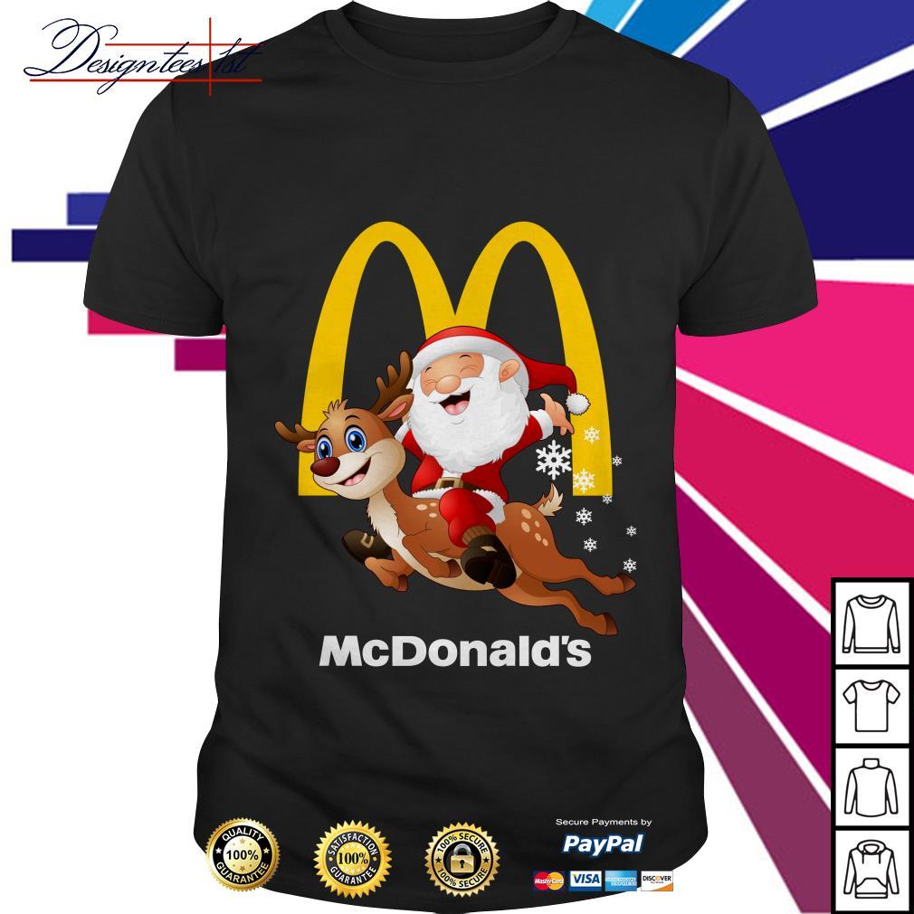 Santa Claus riding a reindeer Mcdonalds shirt