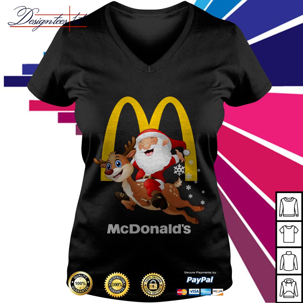 Santa Claus riding a reindeer Mcdonalds V-neck T-shirt