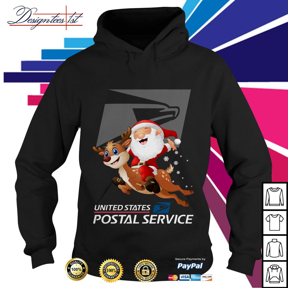 Santa Claus riding a reindeer United States Postal Service Hoodie