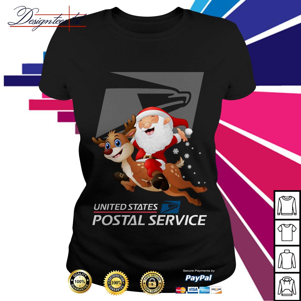 Santa Claus riding a reindeer United States Postal Service Ladies Tee