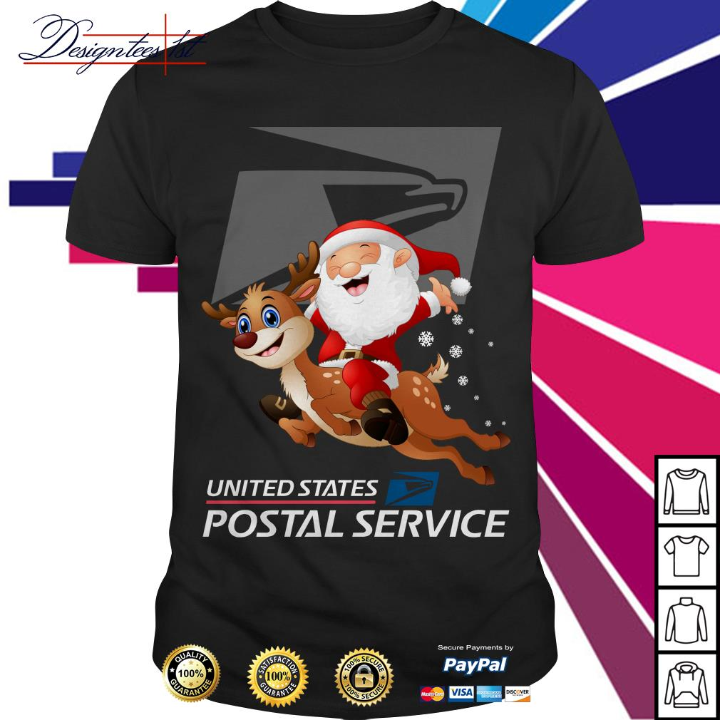 Santa Claus riding a reindeer United States Postal Service shirt