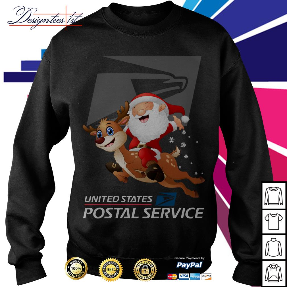 Santa Claus riding a reindeer United States Postal Service Sweater