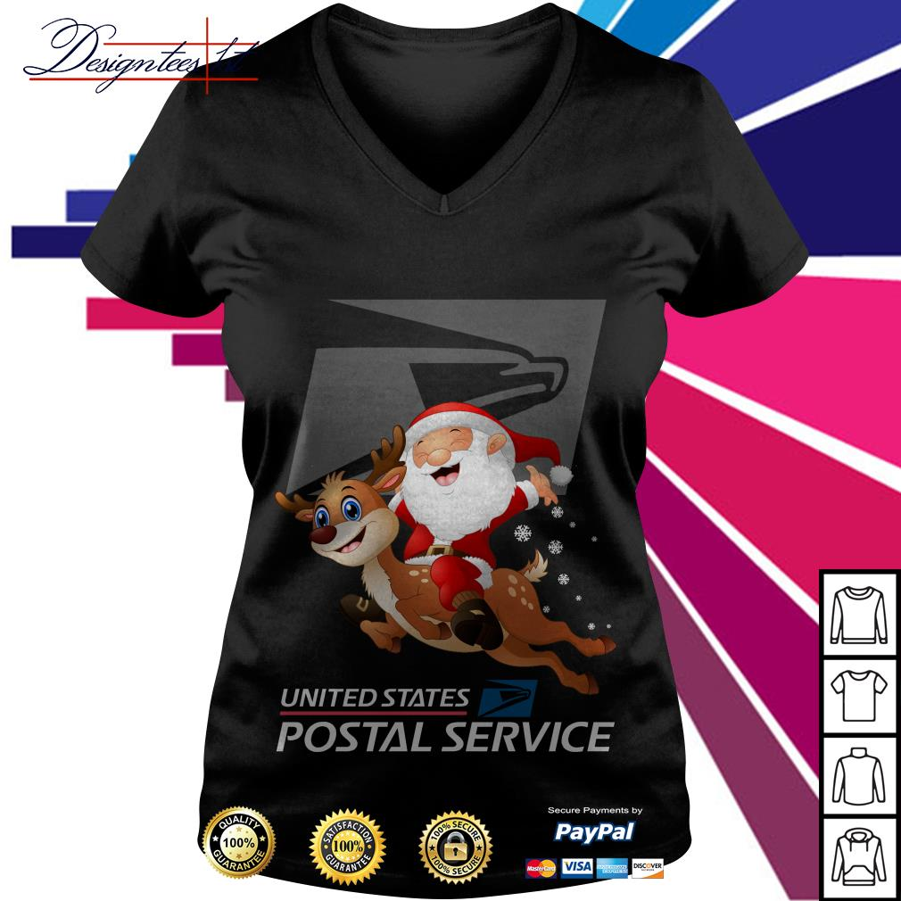 Santa Claus riding a reindeer United States Postal Service V-neck T-shirt