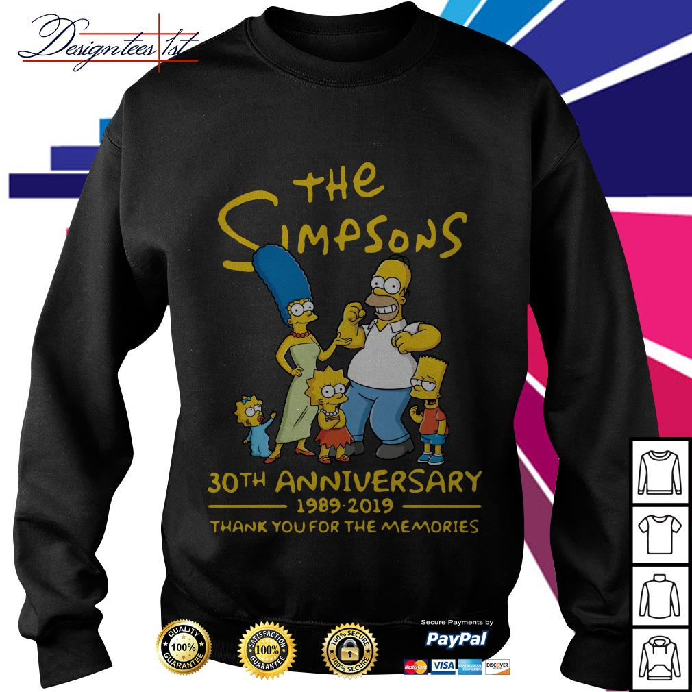 The Simpsons 30th anniversary 1989-2019 thank you for the memories Sweater
