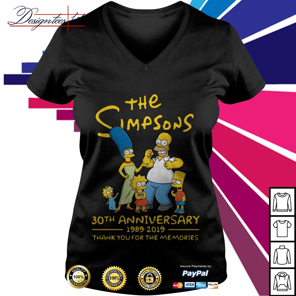 The Simpsons 30th anniversary 1989-2019 thank you for the memories V-neck T-shirt