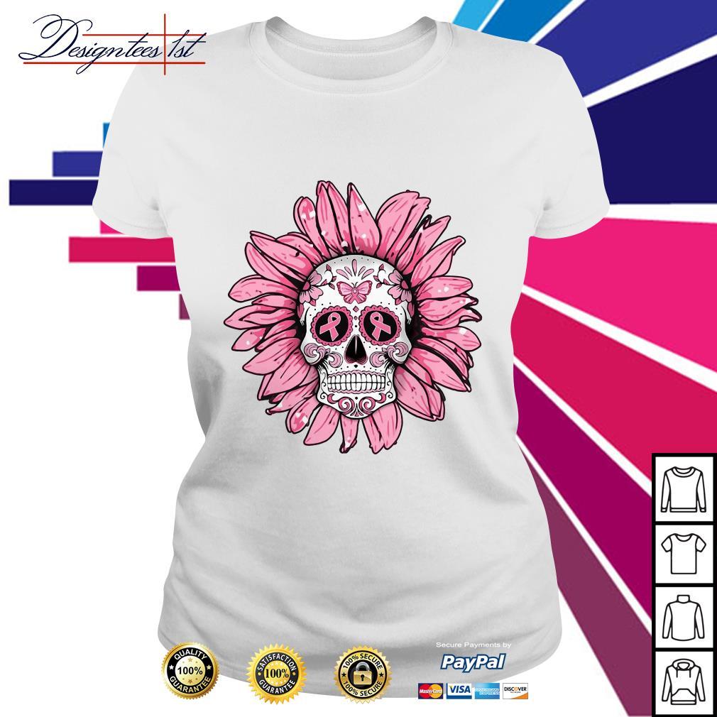 Sugar skull sunflower Breast cancer Ladies Tee