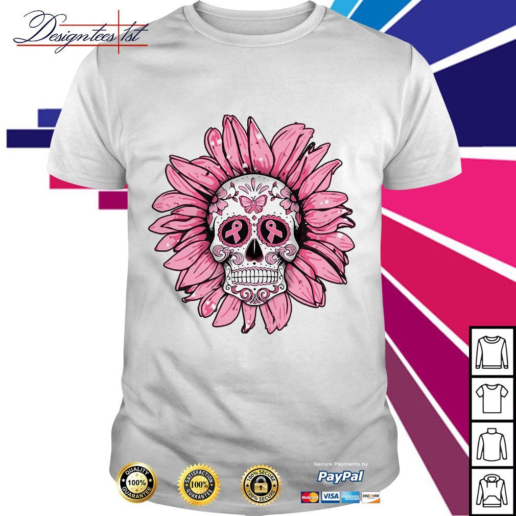 Sugar skull sunflower Breast cancer shirt
