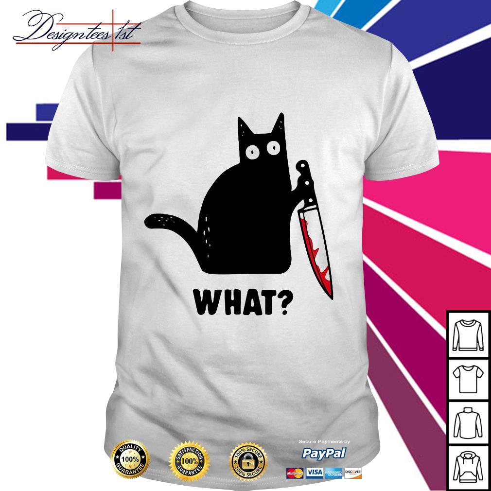 What Black cat hold knife shirt