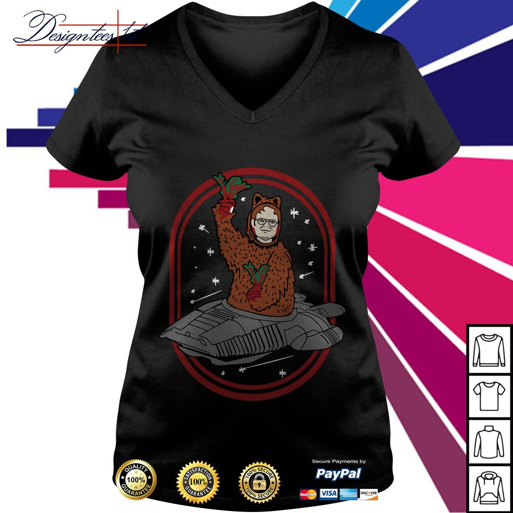 Zoko Apparel Bears beets Battlestar Galactica Dwight Schrute V-neck T-shirt