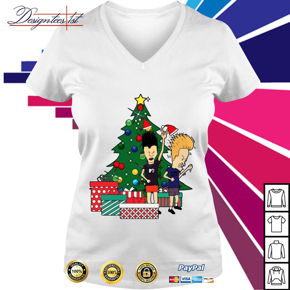 Beavis and Butthead Around the Christmas tree V-neck T-shirt