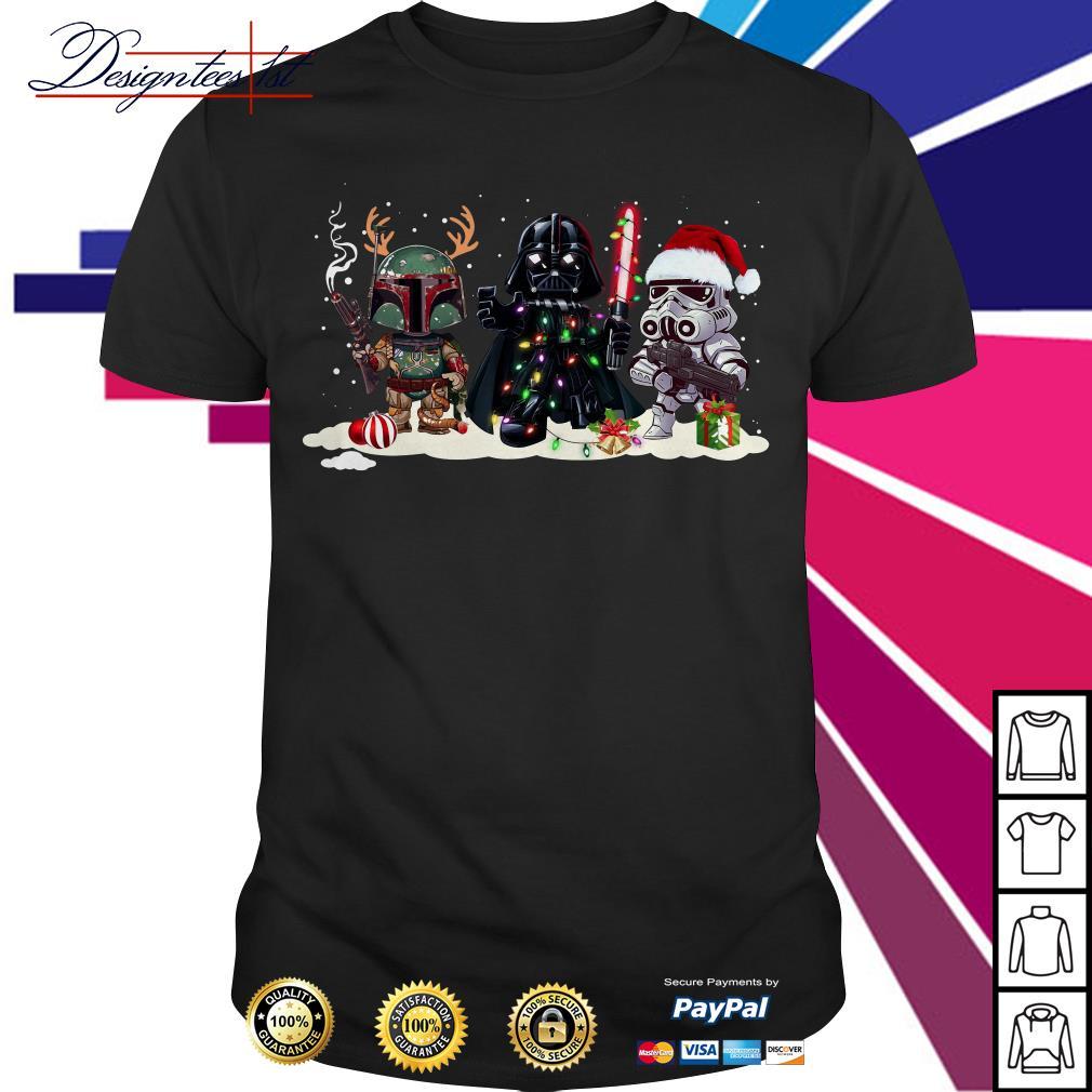 Boba Fett Darth Vader and Stormtrooper chibi Christmas shirt, sweater