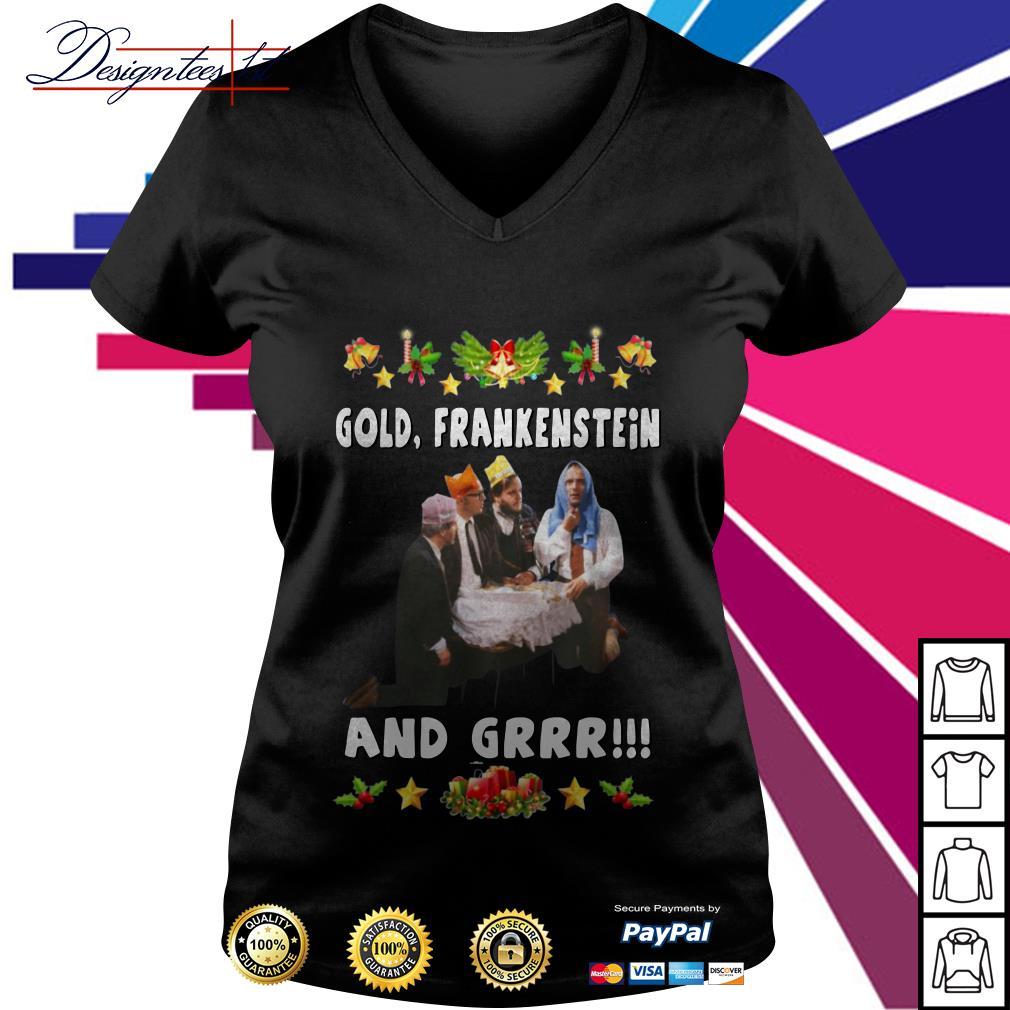 Bottom Richie and Eddie Gold Frankenstein and grrr V-neck T-shirt