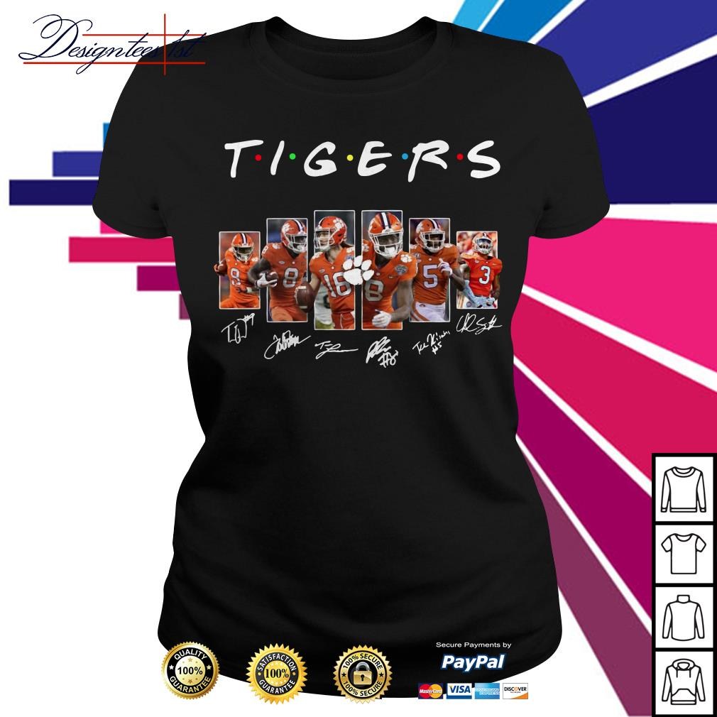 Clemson Tigers team player signatures Ladies Tee