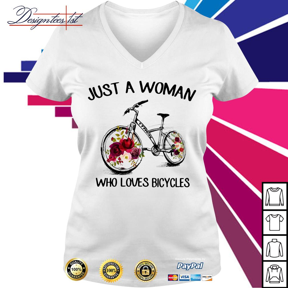 Floral just a woman who loves bicycles V-neck T-shirt
