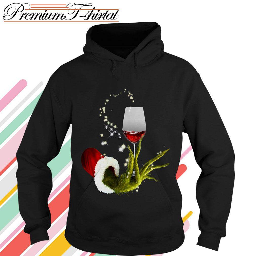 Grinch holding red wine glass Christmas shirt