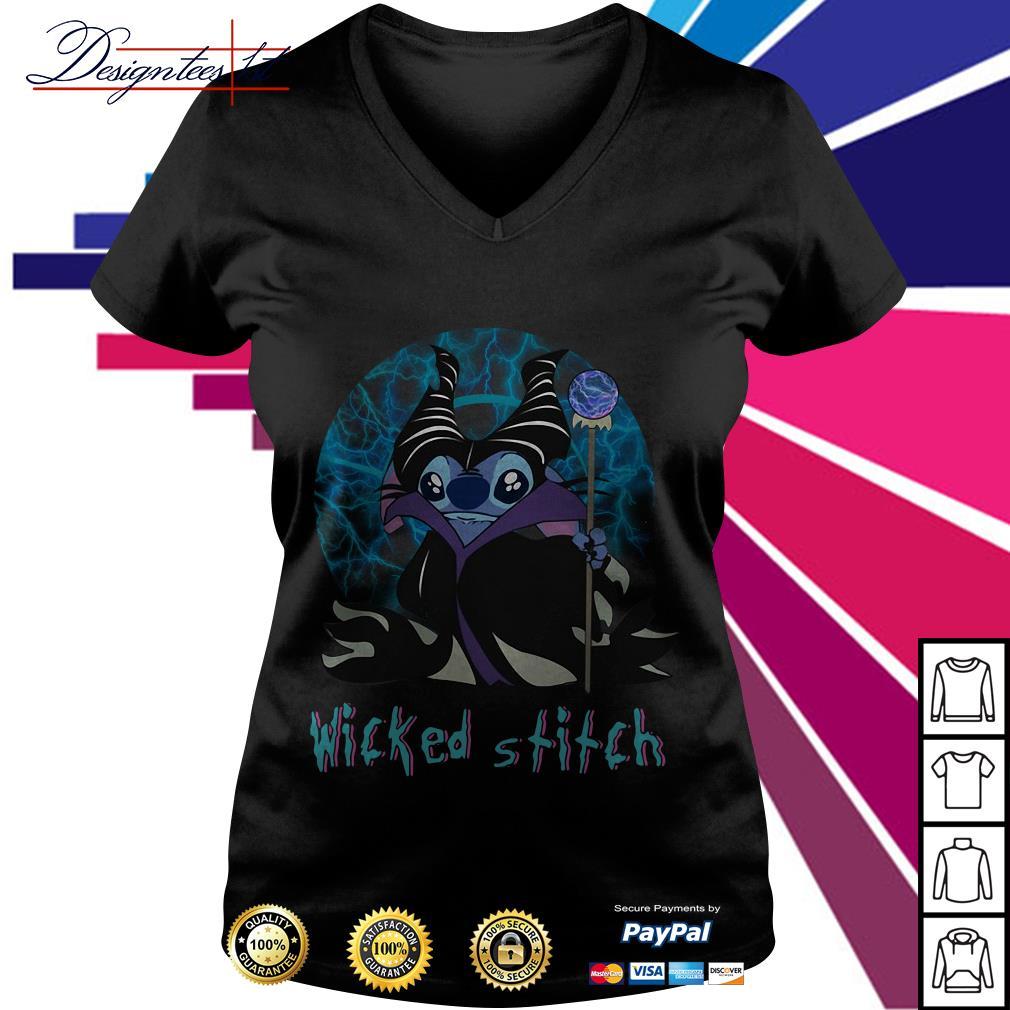 Halloween Maleficent wicked Stitch V-neck T-shirt