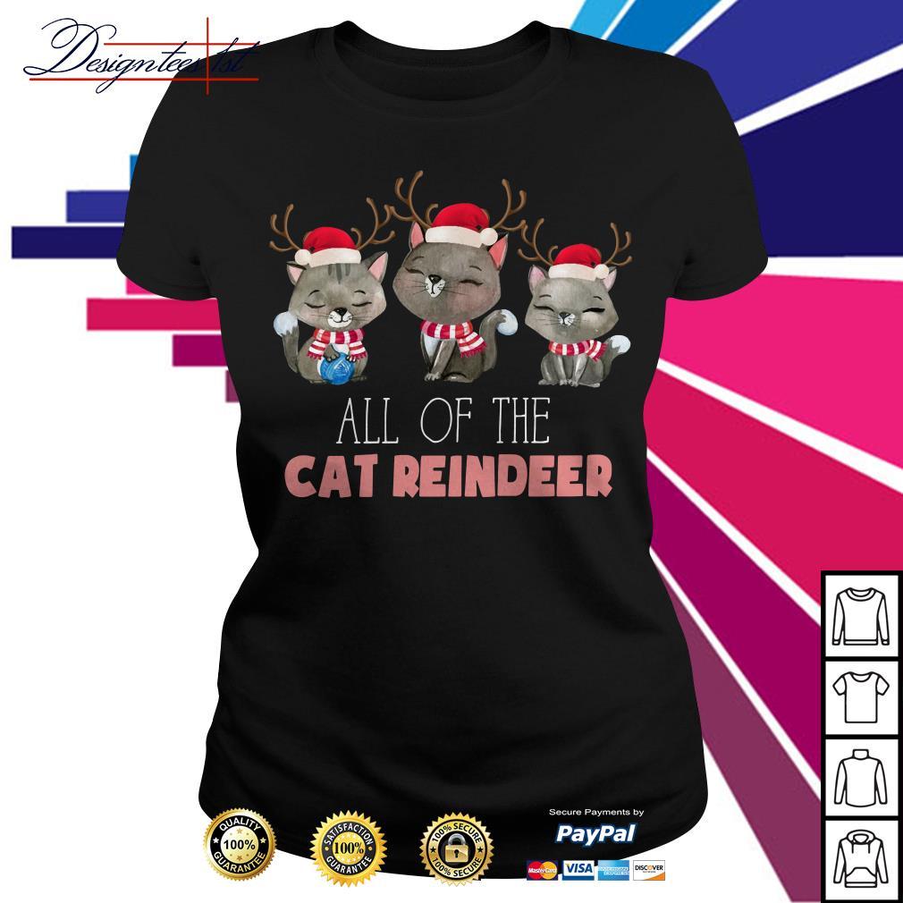 Merry Christmas all of the cat reindeer Ladies Tee