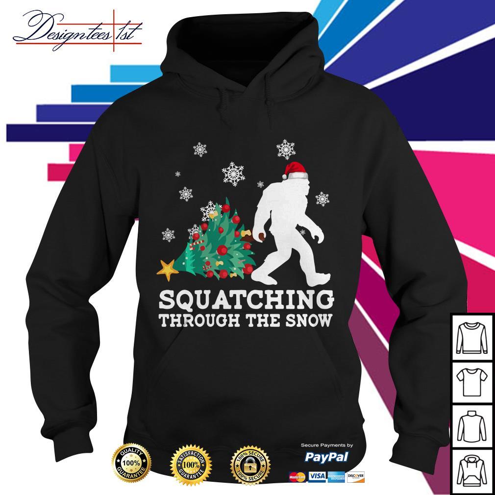 Merry Christmas Bigfoot Santa squatching through the snow Hoodie