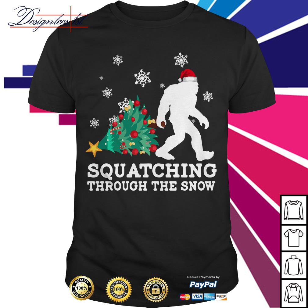 Merry Christmas Bigfoot Santa squatching through the snow shirt, sweater