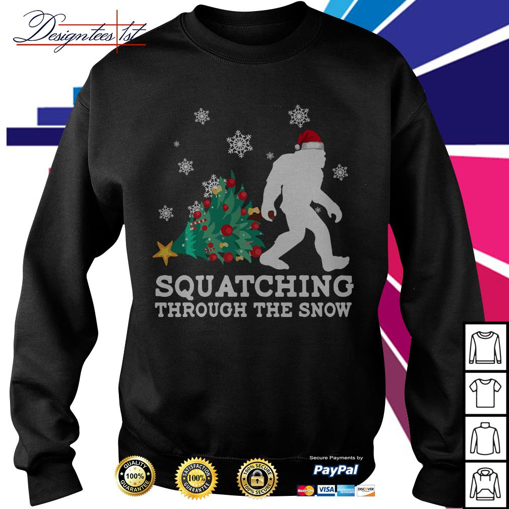 Merry Christmas Bigfoot Santa squatching through the snow shirt, sweater