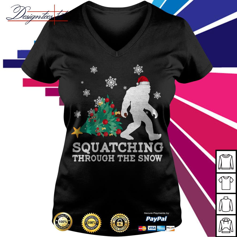 Merry Christmas Bigfoot Santa squatching through the snow V-neck T-shirt