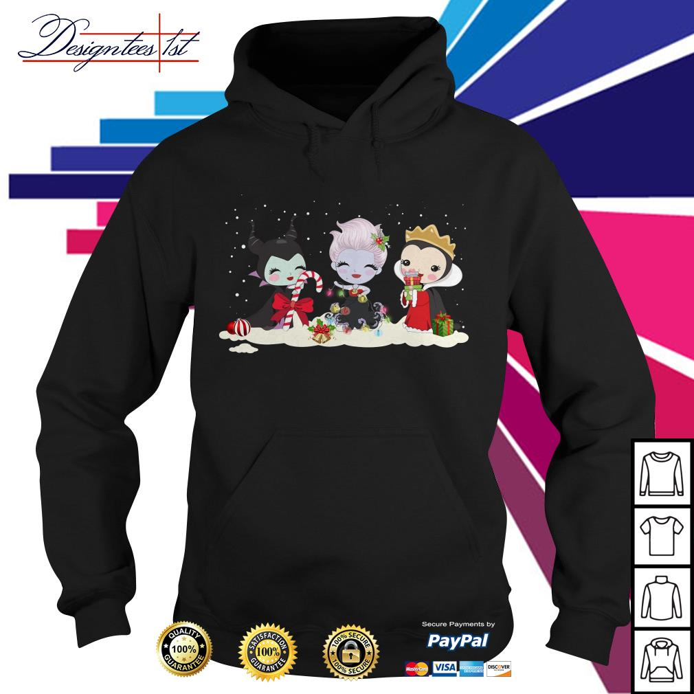 Merry Christmas Maleficent Ursula and Evil Queen chibi characters Hoodie