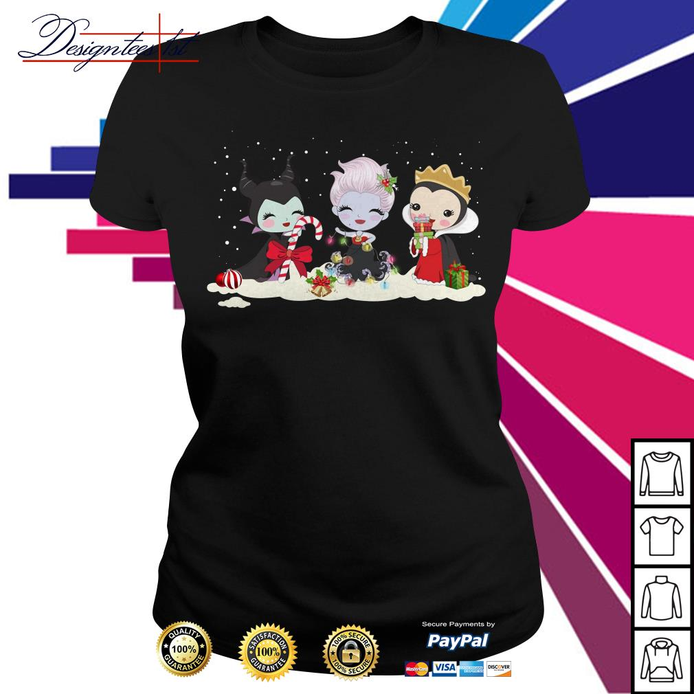Merry Christmas Maleficent Ursula and Evil Queen chibi characters Ladies Tee