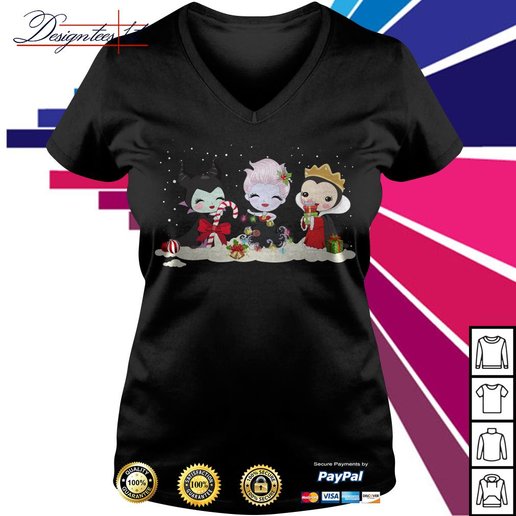 Merry Christmas Maleficent Ursula and Evil Queen chibi characters V-neck T-shirt