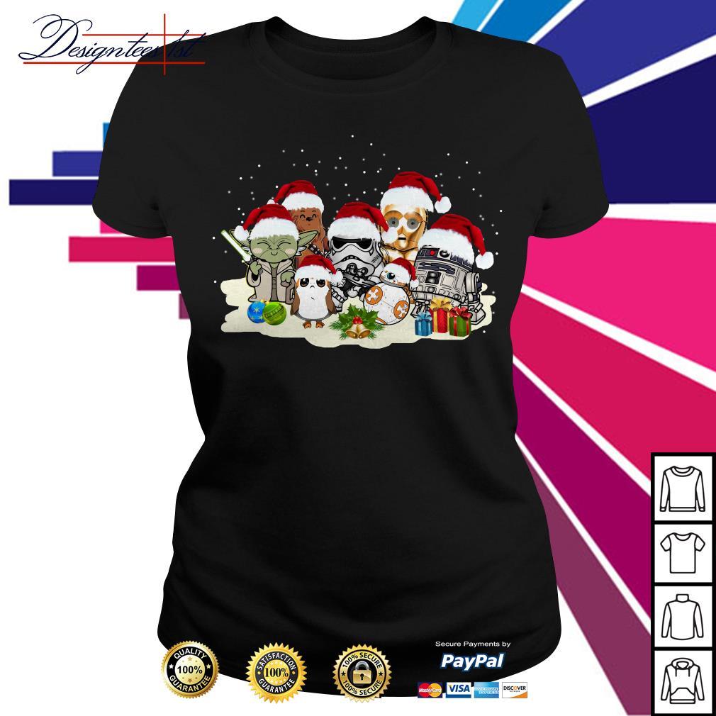 Merry Christmas Star War Yoda Chewbacca Cartoon R2D2 Chewbacca Trooper Ladies Tee