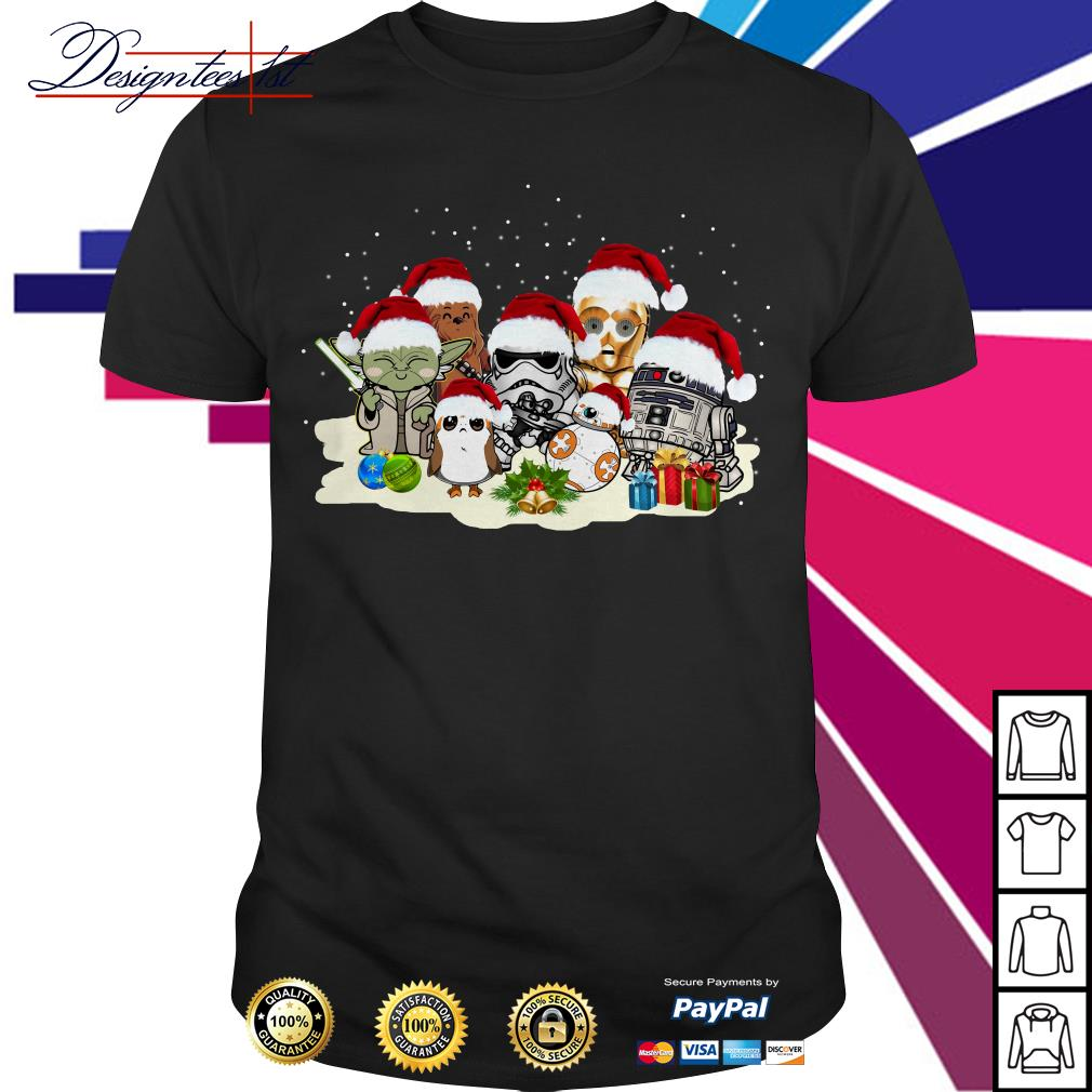 Merry Christmas Star War Yoda Chewbacca Cartoon R2D2 Chewbacca Trooper shirt, sweater
