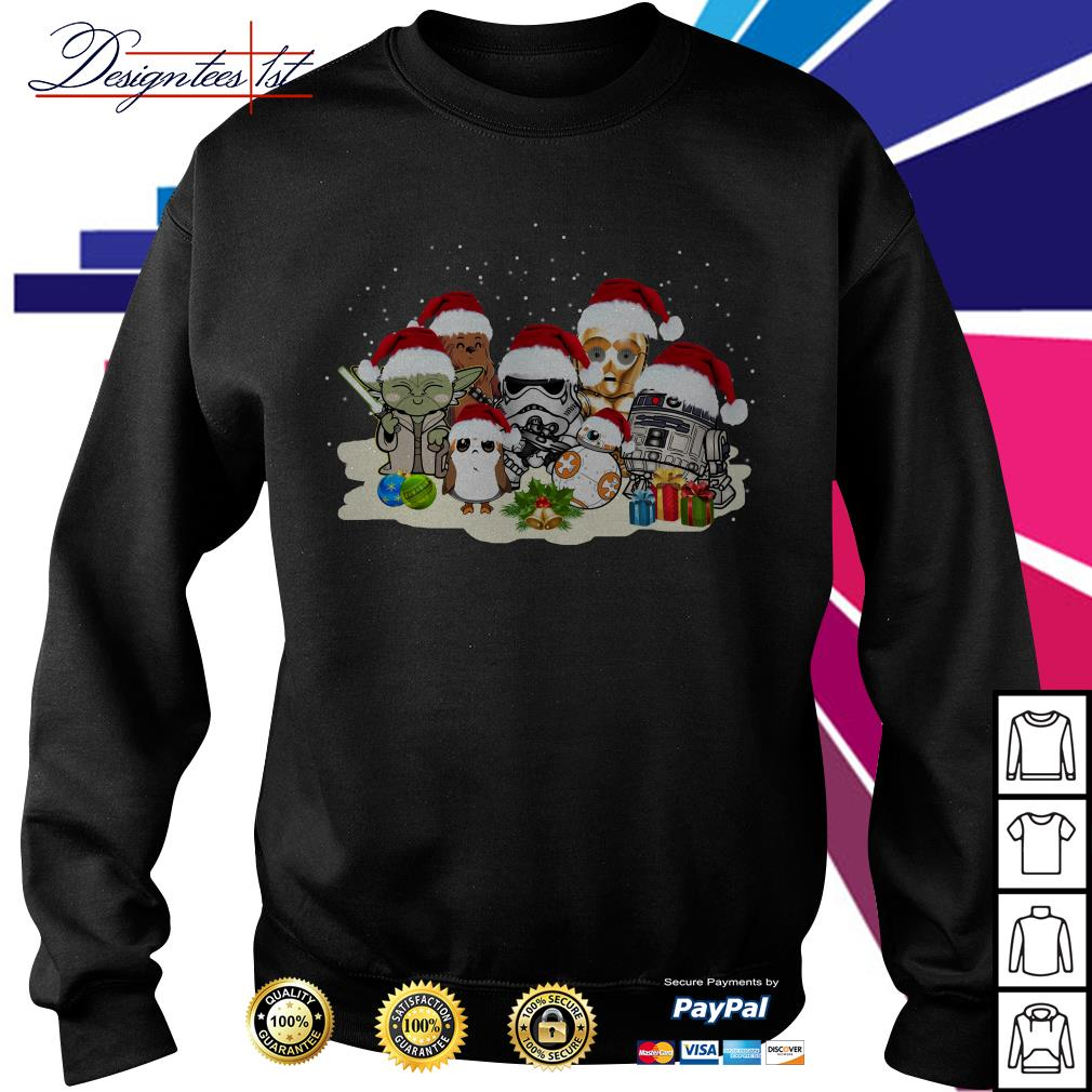 Merry Christmas Star War Yoda Chewbacca Cartoon R2D2 Chewbacca Trooper shirt, sweater