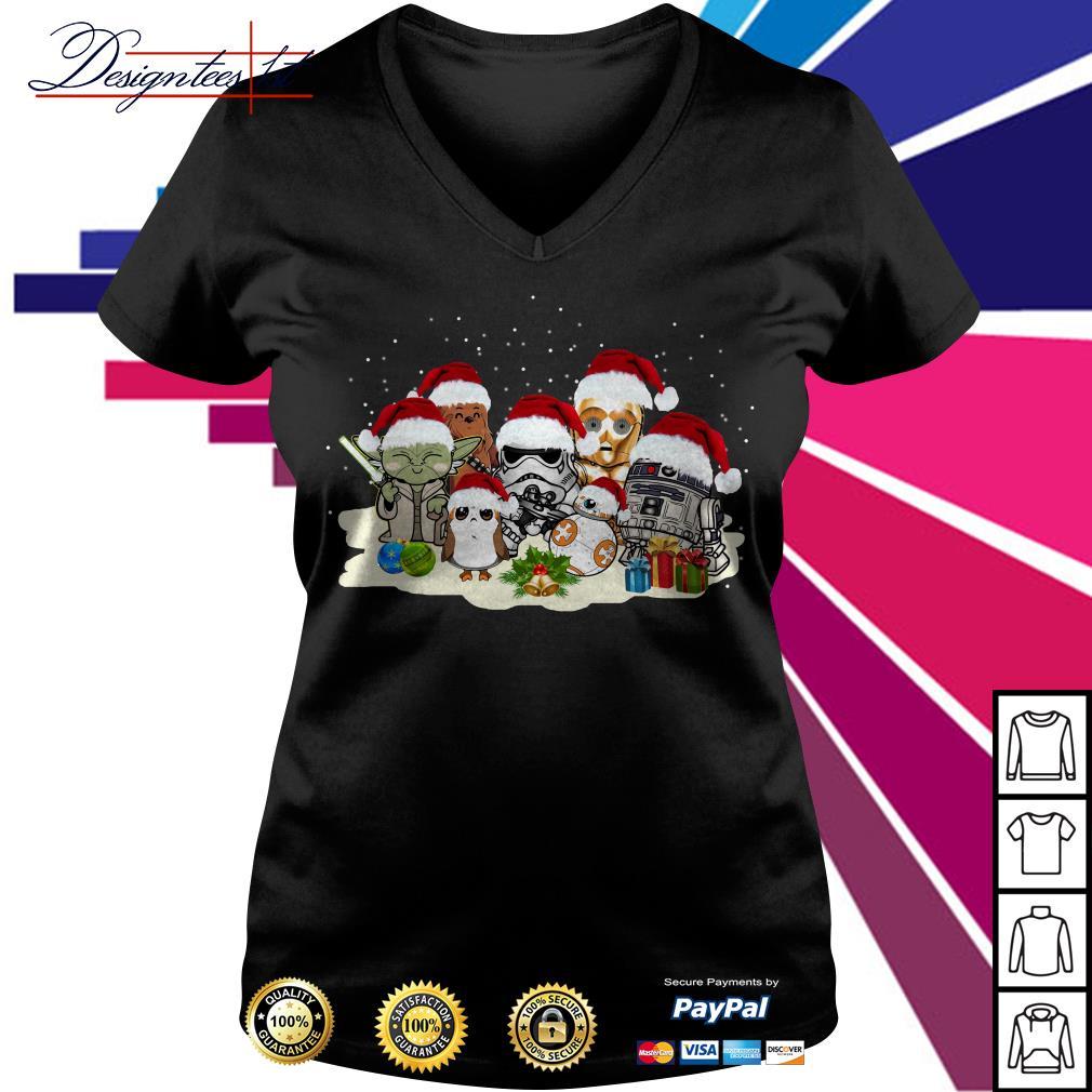 Merry Christmas Star War Yoda Chewbacca Cartoon R2D2 Chewbacca Trooper V-neck T-shirt