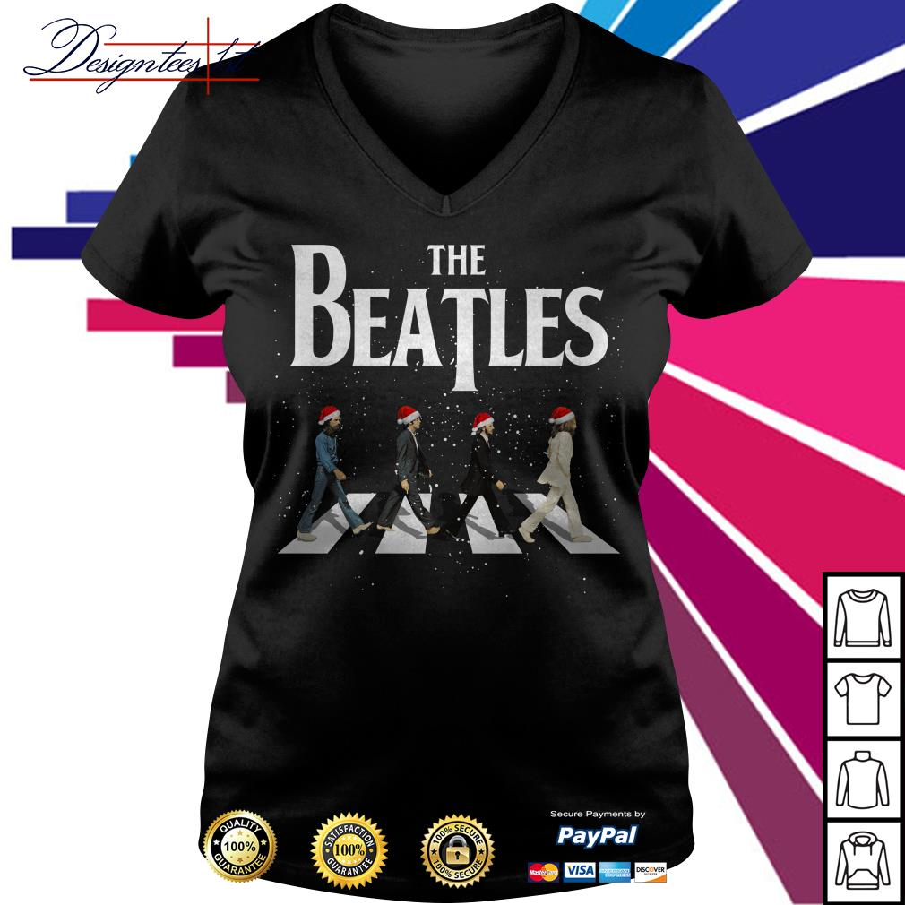 Merry Christmas The Beatles Abbey Road V-neck T-shirt