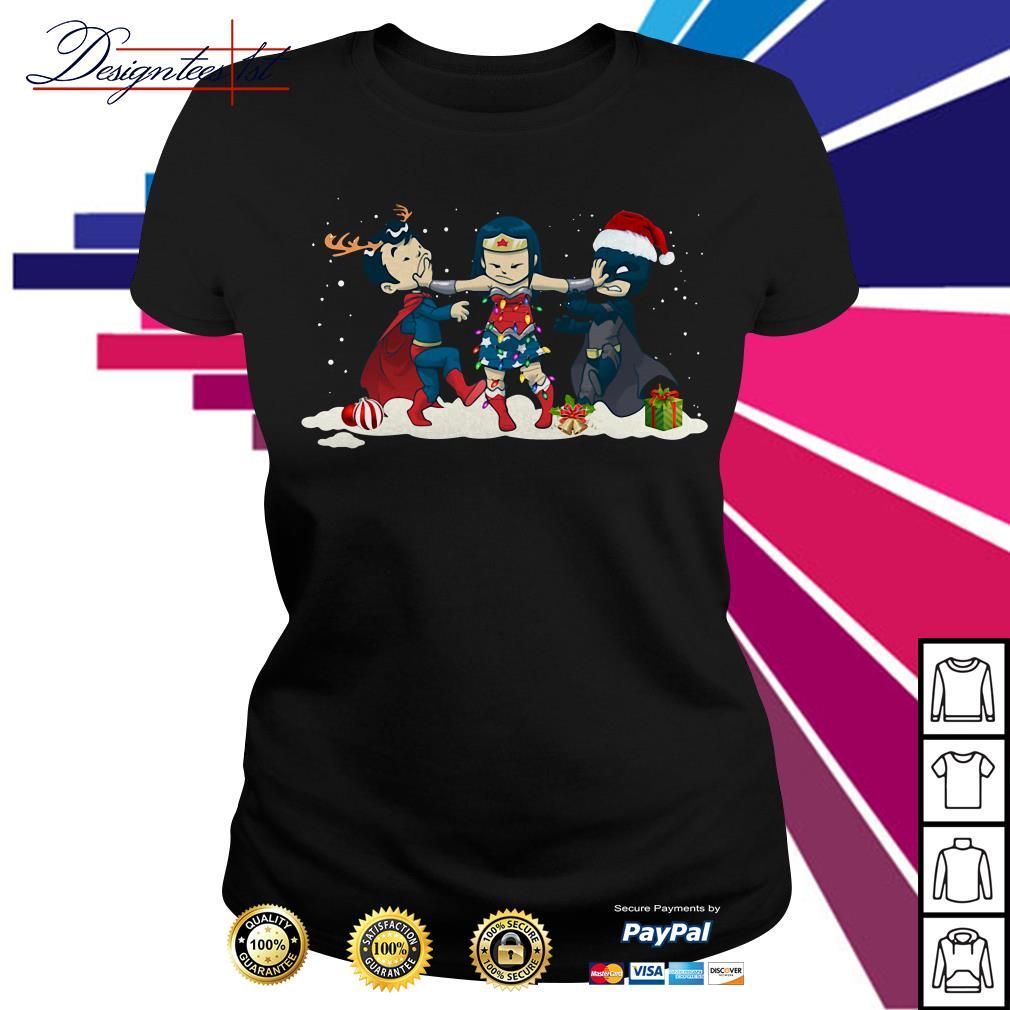 Merry Christmas Wonder Woman stop fighting Batman Superman Ladies Tee