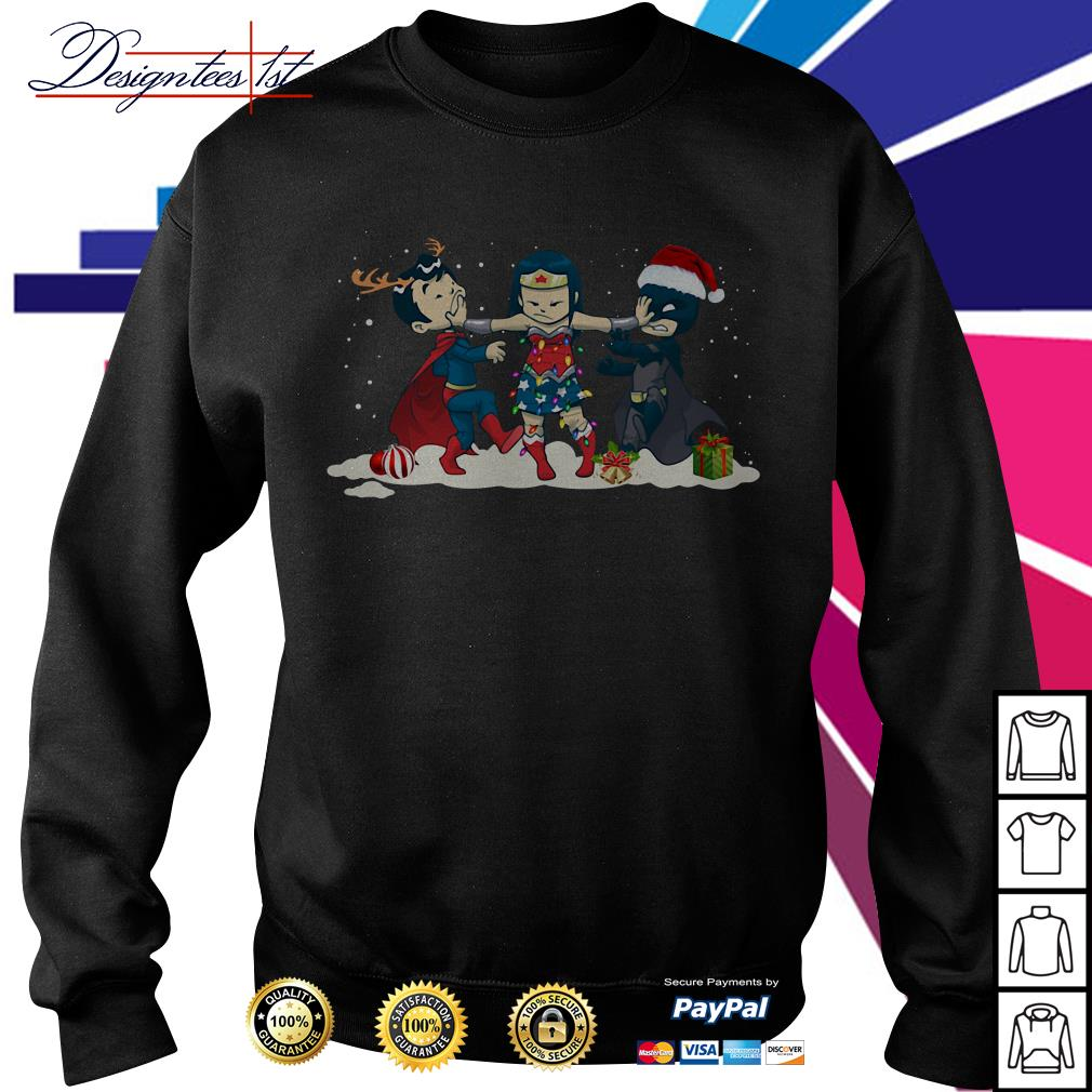 Merry Christmas Wonder Woman stop fighting Batman Superman shirt, sweater