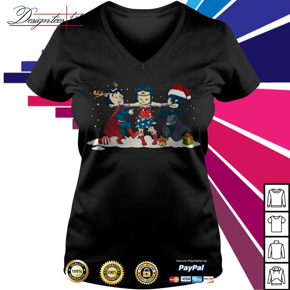 Merry Christmas Wonder Woman stop fighting Batman Superman V-neck T-shirt