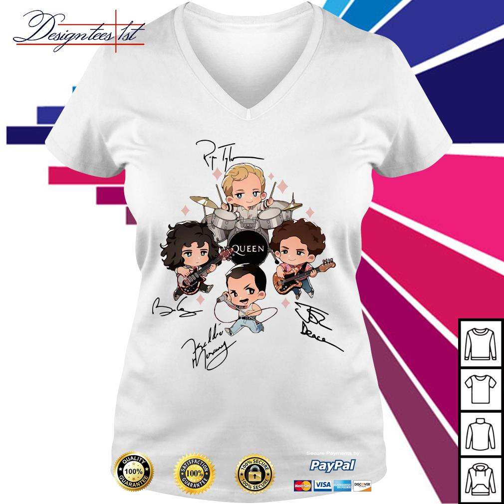 Queen band chibi friends signature V-neck T-shirt