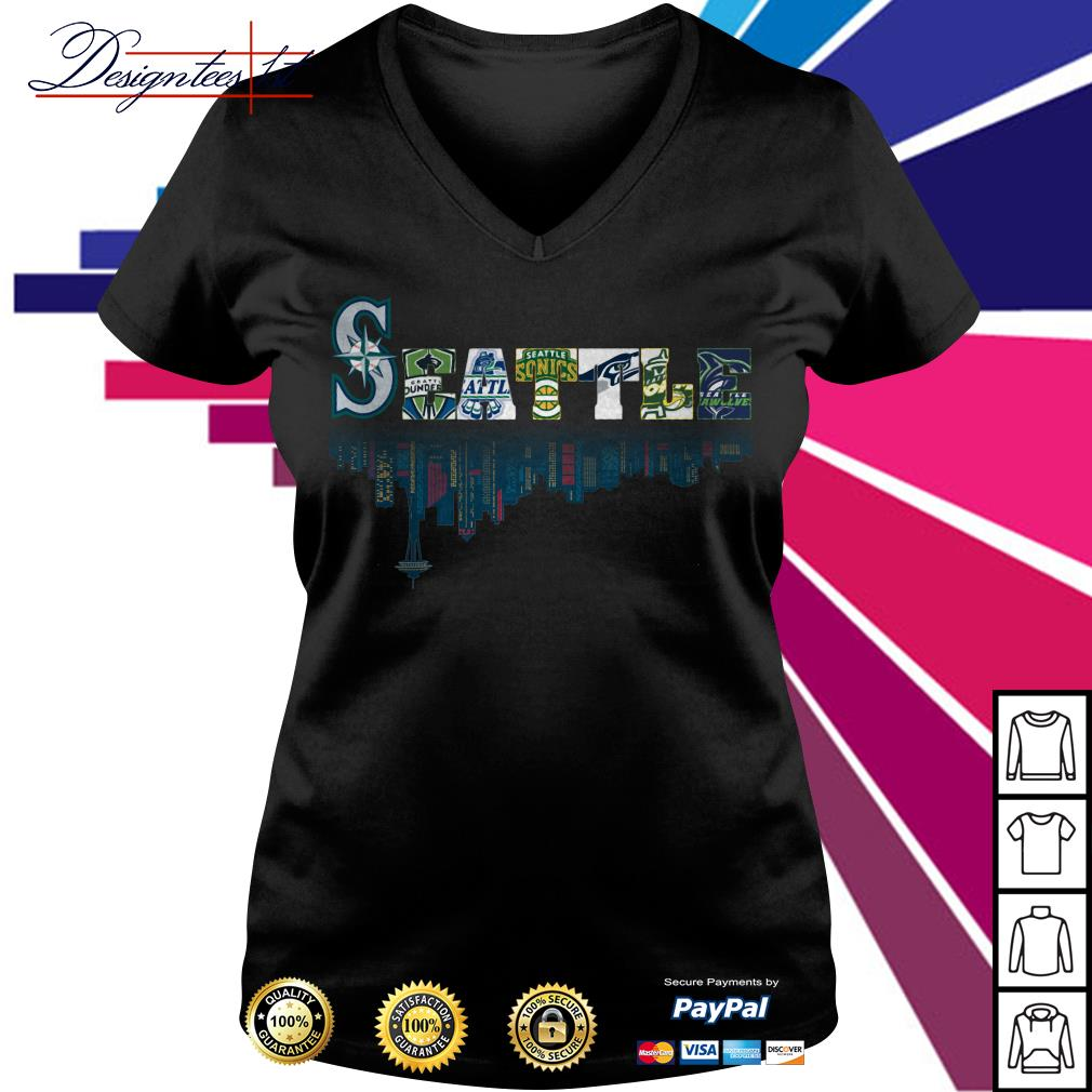 SEATTLE Seattle Mariners Seattle Sounders Seattle Thunderbirds and Seattle Supersonics V-neck T-shirt