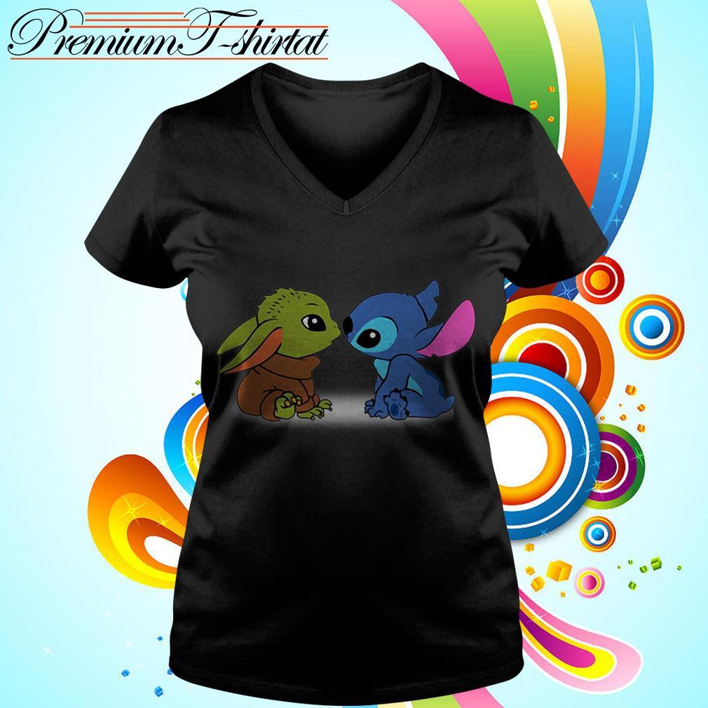 Baby Yoda and baby Stitch V-neck t-shirt