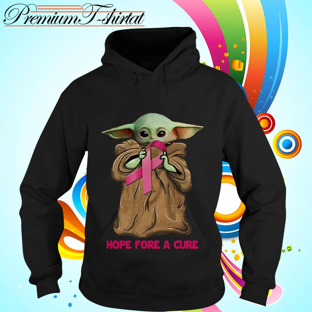 Baby Yoda hug Cancer Awareness hope for a cure Hoodie