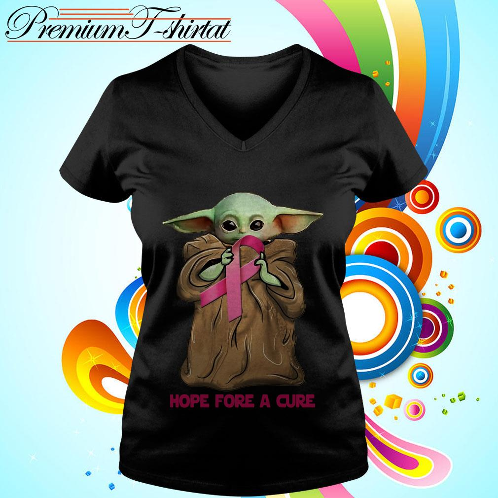 Baby Yoda hug Cancer Awareness hope for a cure V-neck t-shirt