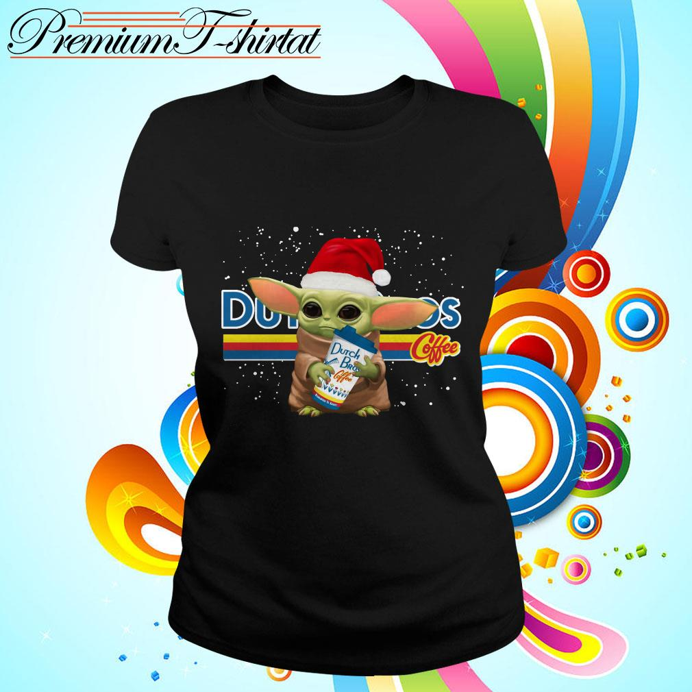 Baby Yoda hug Dutch Bros coffee Christmas Ladies tee