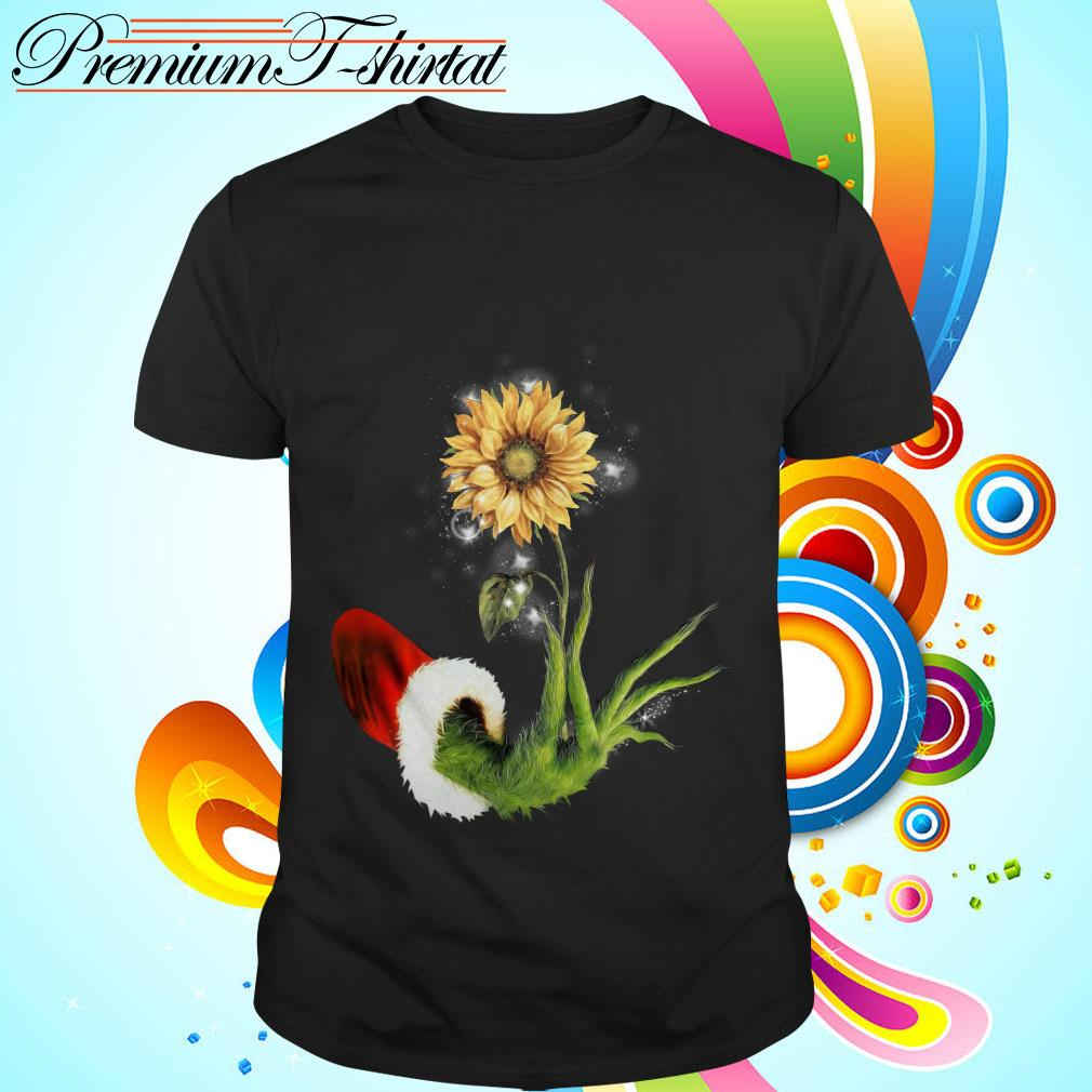 Grinch Santa hand holding sunflower shirt, sweater