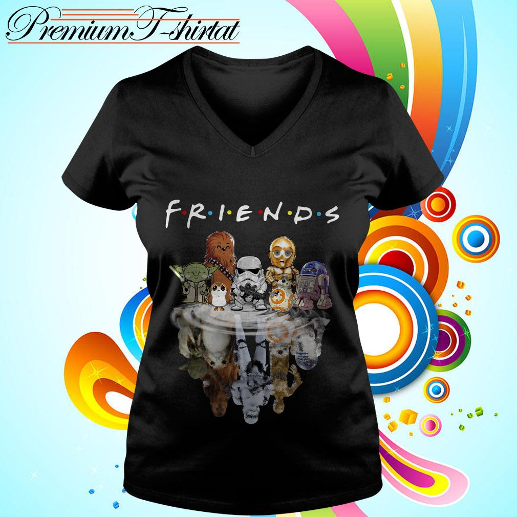 Star Wars chibi characters water reflection Friends TV show V-neck t-shirt
