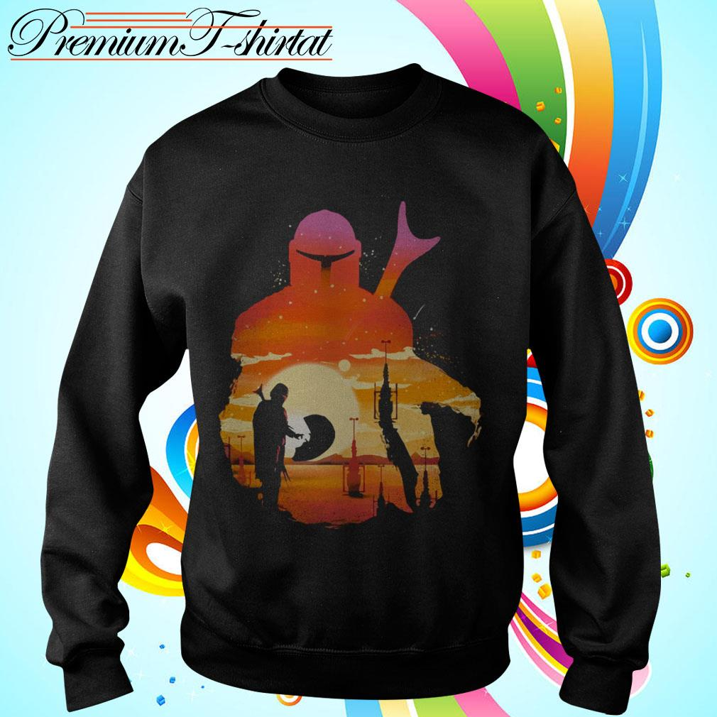 Mando Sunset Mandalorian Yoda Baby Sweater