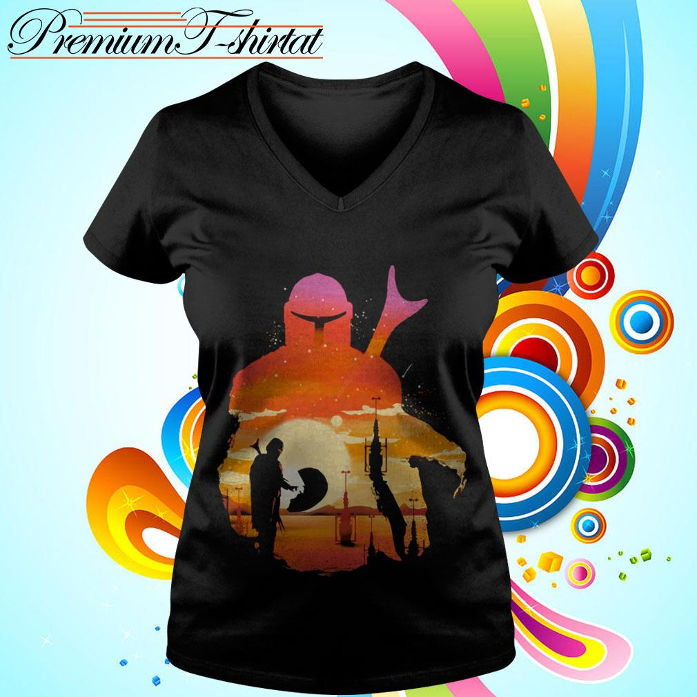 Mando Sunset Mandalorian Yoda Baby V-neck t-shirt