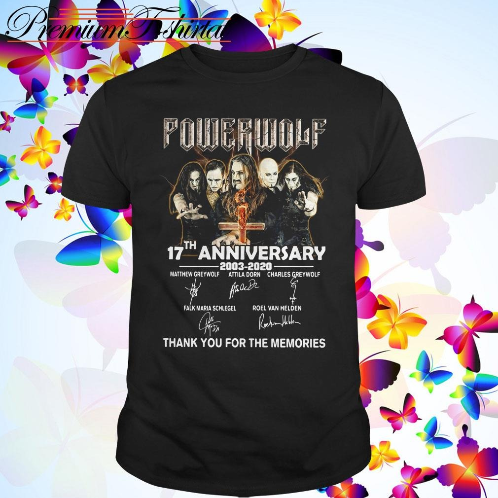 Powerwolf 17th anniversary 2003 2020 thank you for the memories signatures shirt