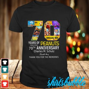 70 years of Peanuts 1950 2020 anniversary signature thank you for the memories shirt