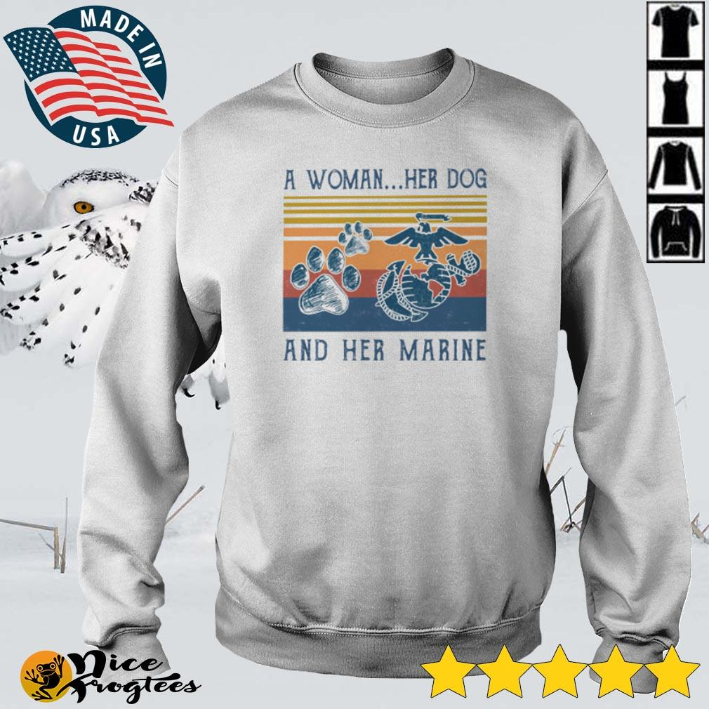 A woman her dog and her Marine vintage shirt