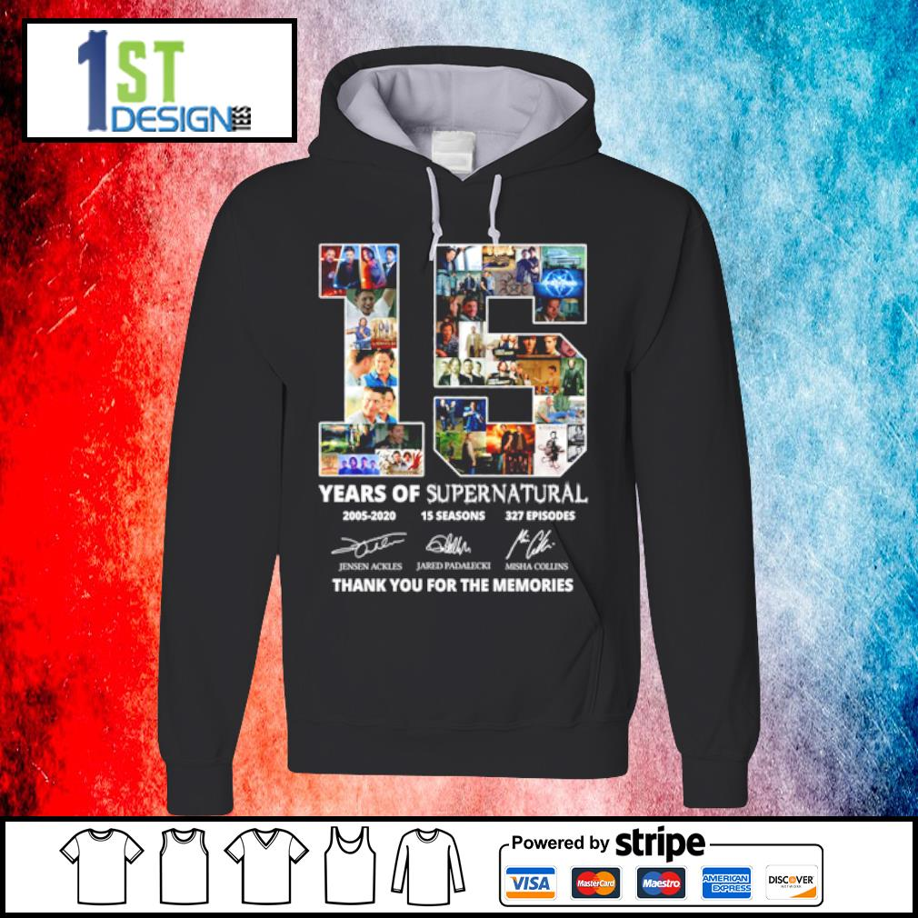 15 years of supernatural 2005-2020 15 seasons 327 episodes thank you for the memories s hoodie